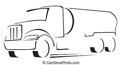 camion eau, illustration, vecteur