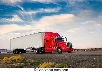 camion, en mouvement, autoroute, rouges
