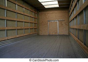 camion, en mouvement, intérieur