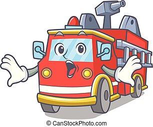 camion feu, dessin animé, surpris, mascotte