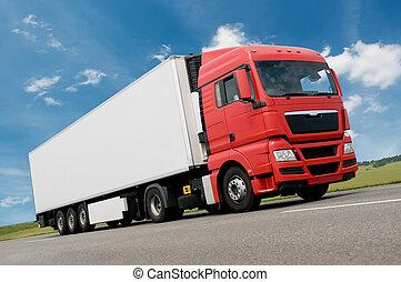 camion, fret, route