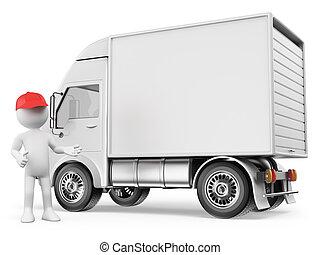 camion, gens., livraison, 3d, blanc