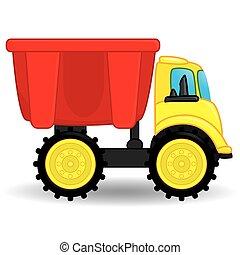 camion, illustration, décharge, vecteur, toy.