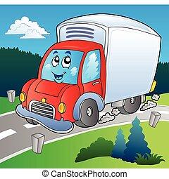 camion livraison, dessin animé, route