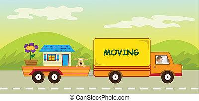 camion mouvement, caravane