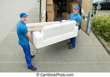 camion, ouvriers, mettre, boîtes, meubles