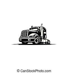 camion, remorquage, caravane, logo