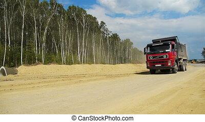 camion, rouges, va