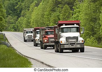 camions décharge, autoroute