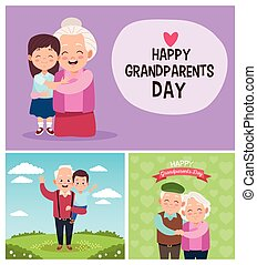 camp, mignon, peu, heureux, gosses, grands-parents