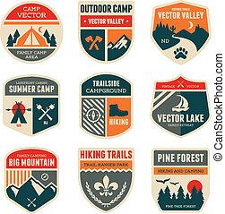 camp, retro, insignes