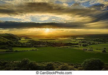 campagne, abrutissant, coucher soleil, sur, paysage