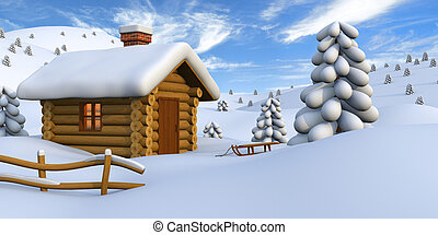 campagne, cabane rondins, neigeux