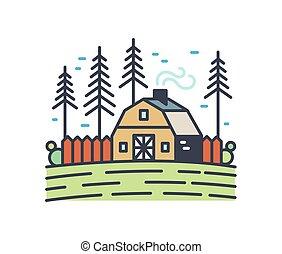 campagne, contour, arrière-plan., paysage., pin, paysage, cheminée fumant, blanc, linéaire, isolé, entouré, vecteur, arbres., coloré, illustration., champ, rural, petite maison, pittoresque