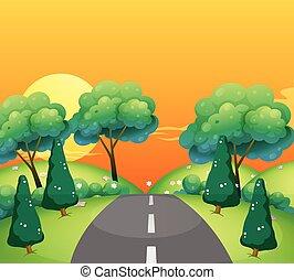 campagne, coucher soleil, scène, route