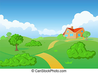 campagne, house., vert, meadow.