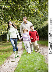 campagne, marche, par, famille