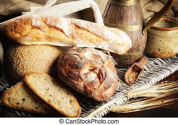campagne, monture, cuit, fraîchement, pain