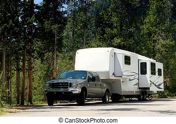 campeur, yellowstone, caravane