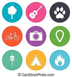 camping, brûler, icons., peche, bike., tourisme