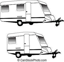 camping, caravane