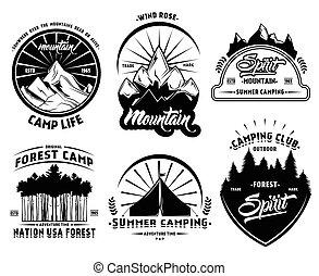 camping, extérieur, ensemble, étiquettes