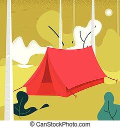 camping., nature, leaves., illustration, vecteur, forêt, fond, vue, montagnes., tente