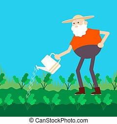 can., vieux, plat, paysan, icône, vecteur, arrosage, couleur, jardin, dessin animé