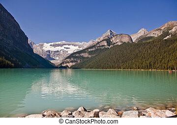 canada, banff, louise, -, parc national, lac, alberta