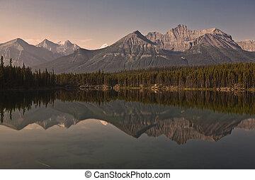 canada, banff, -, parc national, lac herbert, alberta