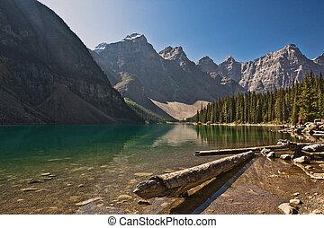 canada, banff, -, parc national, moraine lac, alberta
