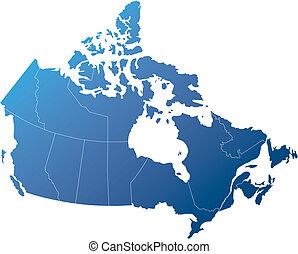 canada, bleu, ombragé, nuances, provinces