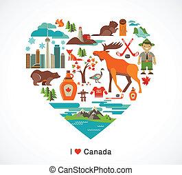 canada, coeur, éléments, amour, icônes, -