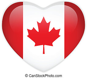 canada, coeur, drapeau, lustré, bouton