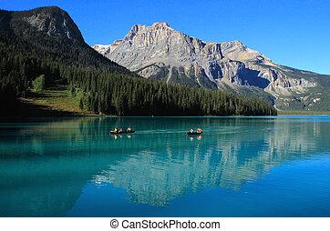 canada, colombie, yoho, national, britannique, parc, lac, émeraude