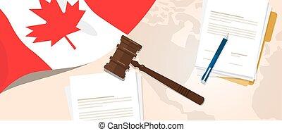 canada, concept, constitution, justice, législation, drapeau, légal, procès, stylo, papier, marteau, utilisation, droit & loi, jugement