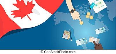 canada, fiscal, concept, financier, carte, argent, budget, illustration, commercer, monnaie, drapeau, banque