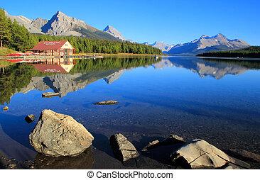 canada, national, lac, parc, jaspe, alberta, maligne