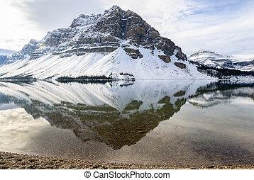 canada, reflet, banff, national, lac, arc, parc, alberta