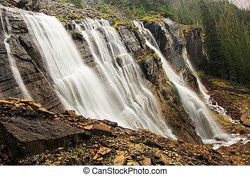 canada, sept, yoho, national, lac, parc, chutes, o'hara, voiles