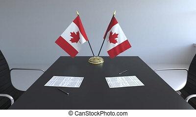 canada, signer, agreement., animation, drapeaux, papiers, conceptuel, table., négociations, 3d