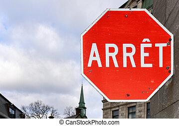canada, ville, arrêt, -, français signent, québec
