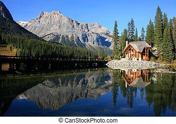 canada, yoho, maison bois, parc national, lac, émeraude