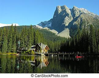 canada, yoho, monter, parc, lac, burgess, émeraude, national