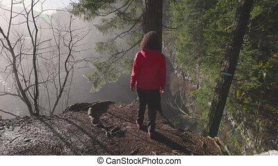 canadien, girl, nature, chute eau, regarder, beau