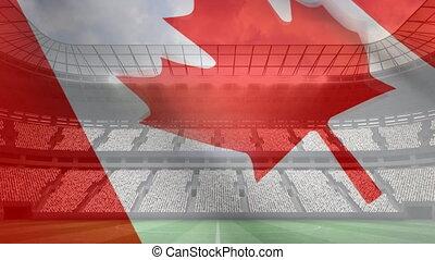 canadien, stade, drapeau ondulant, devant