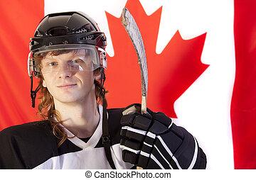 canadien, sur, glace, joueur, drapeau, hockey