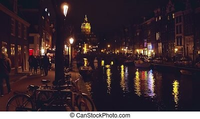 canal, amsterdam, pays-bas, nuit
