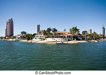 canal, australie, surfers, queensland, scène, paradis