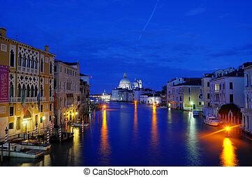 canal, beau, italy venice, (hdr), venise, lumières, nuit
